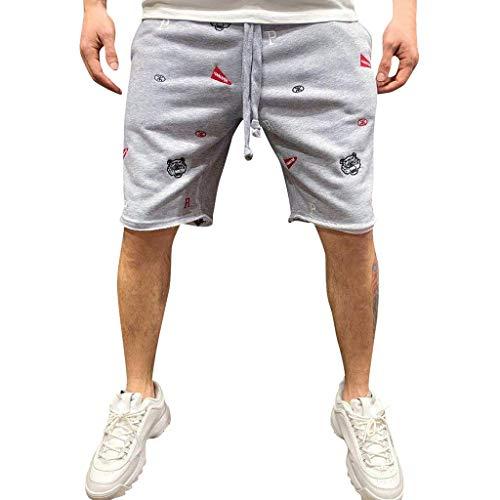 Setsail Art- und WeiseHerren Sommer beiläufige Stickerei-Bequeme-Sport-elastische Taillen-Kurze Hosen-Hosen - Verstellbare Taille Smoking Hosen