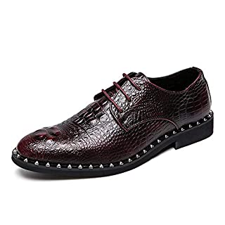 Jingkeke Herren Classic Lace-up Business Oxfords Casual Crocodile Texture High-End-Schuhe für formelle Kleidung auffällig (Color : Wein, Größe : 43 EU)
