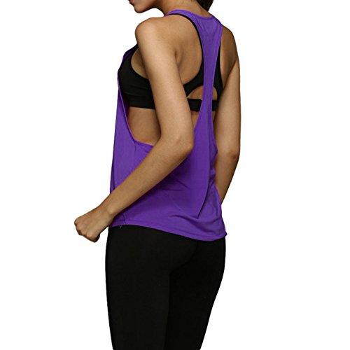Hougood Women Fitness Running Veste à séchage Rapide Vêtements D'entraînement Gym Top Débardeur Style A-Violet