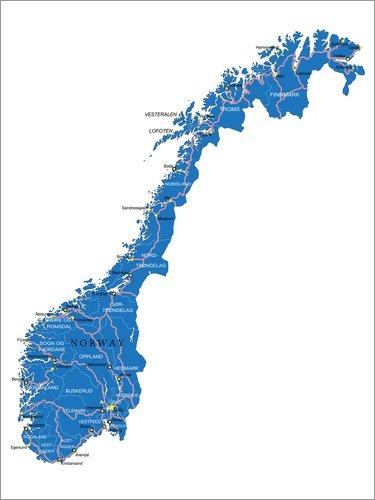 Poster 60 x 80 cm: Karte Norwegen von Editors Choice - hochwertiger Kunstdruck, neues Kunstposter