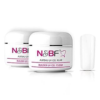 N&BF Aufbaugel Builder-Gel 2er Set Sculpting UV Gel Nagelgel für Gelnägel mit Honigeffekt klar/transparent selbstglättend säurefrei mittelviskos (100ml)