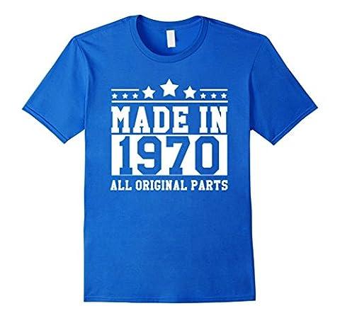 Men's BIRTHDAY 1970 MADE IN 1970 ALL ORIGINAL PARTS FUNNY DESIGN Medium Royal Blue