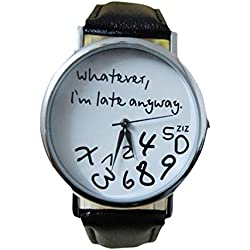 JACKY Leather Watch Whatever I am Late Anyway Letter Watches Black