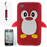 AOA CasesTM Red Penguin Style Case Back Cover For Apple iPod Touch 4TH Gen Generation 4 4G + Mini Stylus