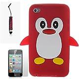Rouge Pingouin Manchot Mignon Etui Coque Housse Pour Apple iPod Touch 4th Generation Gen 4 4G