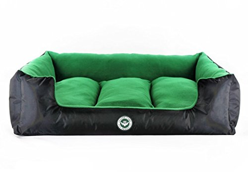 Loving-Care-Pet-Products-Ultra-Supreme-Lounger-Style-Dog-Bed-Cat-Bed-Pet-Bed-Large-80-cm-x-65-cm-Trust-Green-RemovableReversible-Pillow-Soft-Microfibre-interior-Durable-Water-Resistant-Exterior-Comple