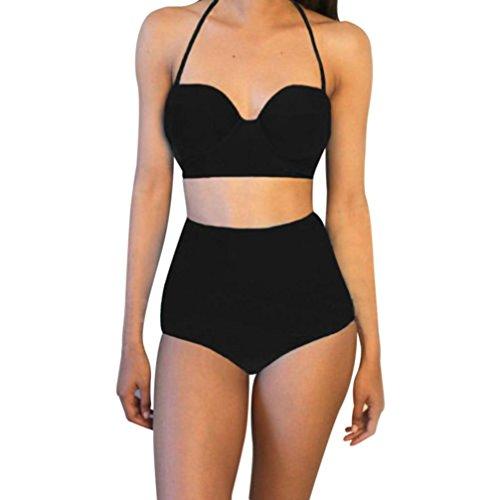 Rawdah Costume da bagno di costume da bagno di seta del bikini dell'alta vita dell'annata di un pezzo delle donne (XL, Nero)