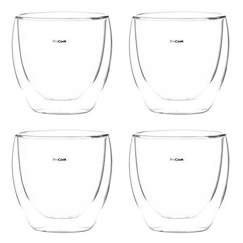 ProCook - Set de Verres à thé ou café Transparents Double paroi résistants à la Chaleur 4 Piece - 250 ML