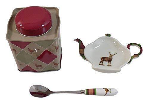 3 Stück Spode Glen Lodge Tee-Set Spoon Rest Tee Caddy Blech in Geschenkverpackung -