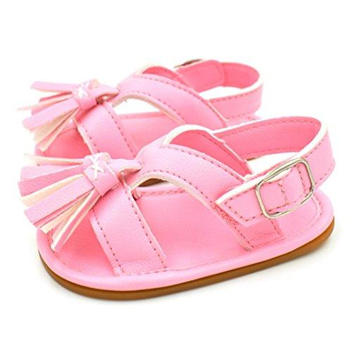Igemy 1Paar Neugeborene Baby Jungen Mädchen Tassel Step Schuhe Sandalen Soft Schuhe Anti-Rutsch Schuhe Rosa