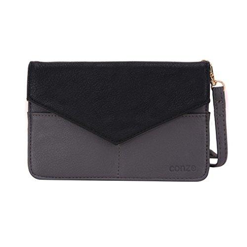 Conze da donna portafoglio tutto borsa con spallacci per Smart Phone per Lenovo S60 Grigio grigio grigio