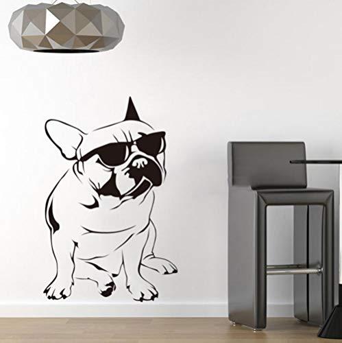 Lustige hund sonnenbrille Französisch bulldog wandaufkleber vinyl wandbild wandkunst aufkleber kinderzimmer tapete dekoration 40X70 CM
