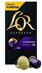 L'Or Espresso Café Supremo - Intensité 10 - 50 Capsules en Aluminium Compatibles avec les Machines Nespresso®* (Lot de 5X10 capsules)
