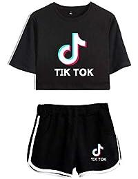 TIK Tok Top y pantalón Corto de Ocho Puntos para niña, Ropa Deportiva, Camiseta de Verano de Manga Corta para Correr
