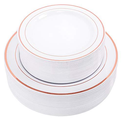 WDF Assiettes plastique jetables Lot, 30-26 cm Assiettes Plates et 76,2 - 19,1 cm Assiettes à salade Combo - Rose Doré véritable Chine Motif, plastique, White/Rose Gold Trim, 30 dinner plates+30 salad plates