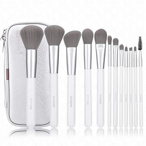 Jia He Pinceau de maquillage Pinceau de maquillage - Fibre de charbon de bambou, 12 combinaisons de pinceaux de maquillage gris Outil de maquillage complet Pinceau ombre à paupières Pinceau à fard à j
