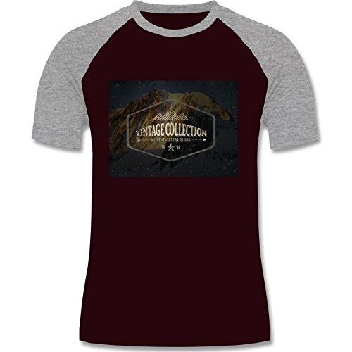 Wintersport - Retro Design Berge - zweifarbiges Baseballshirt für Männer Burgundrot/Grau meliert