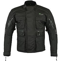 Mens RIDEX CJ1 Moto motocicleta chaqueta protección impermeable Negro negro Talla:mediano