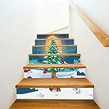 Treppenaufkleber Weihnachten Verkleiden Sich Treppen Aufkleber Schnee Weihnachtsbaum Treppen Dekorative Wandaufkleber 18CM*100CM*6 Stück