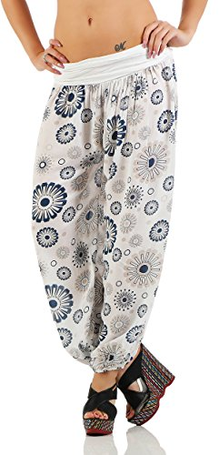 ZARMEXX Damen Pumphose Pluderhose Harem-Stil Sommerhose all over Print Freizeithose Aladinhose Hose One Size (Einheitsgröße: Gr. 36-42, Weiß)