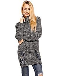 af57550916a212 Miss Eleven eleganter langer Pullover langen Ärmeln Made in Italy IMP1005  OneSize