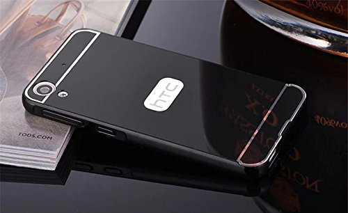 D-kandy Luxury Metal Bumper + Acrylic Mirror Back Cover Case For HTC DESIRE 828 828 DUAL - BLACK