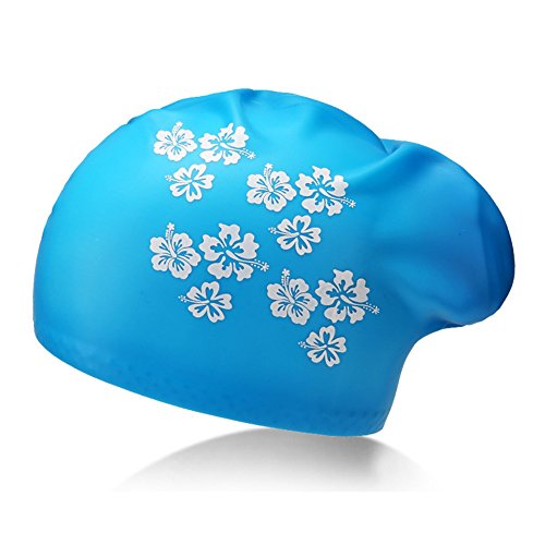 Schwimmen Kappe Badekappe Wasserdicht Premium Silikon Massivem Langes Haar Bequeme Passform für Erwachsene Herren Frauen Youth Kinder Kind, B