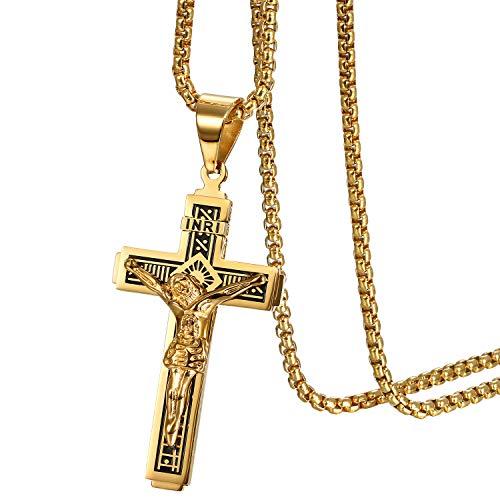 JewelryWe Schmuck Herren Halskette Katholische Jesus Christus auf INRI Kreuz Kruzifix Edelstahl Anhänger mit 22 Zoll Kette Gold