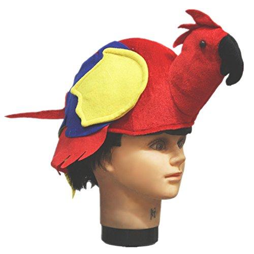 Red Parrot Warm Kostüm Hat für Unisex Kinder Erwachsene für Halloween Party Gr. One size, rot