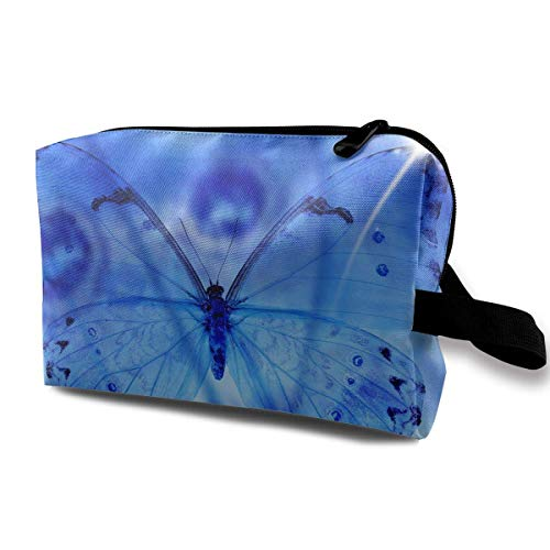 Travel Makeup Cosmetic Bag Brush Pouch Blue Butterfly Wings Zipper Pen Organizer Carry Case makeup bag for purse (Wings Braun Angel)