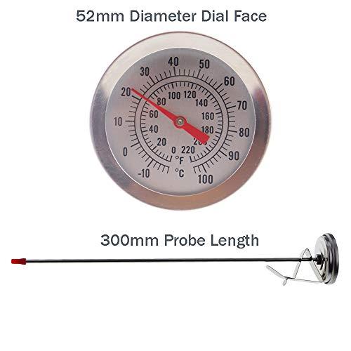una sonda de 300/mm de largo y un clip para sujetar Term/ómetro casero para cerveza con esfera de 52/mm