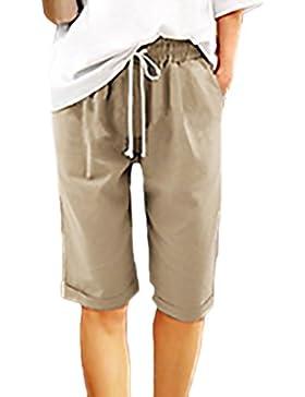 Pantaloni Estivi Donna Eleganti Shorts Elastico In Vita Con Tasca Puro Colore Moda Giovane Casual Pantaloncini...