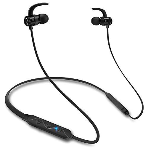 Bluetooth 5.0 kabellose Kopfhörer, Aoslen In Ear Ohrhörer 12 Stunden Spielzeit, Rich Bass, Magnetische Wasserdicht IPX7 Kopfhörer mit Mic Spielzeit für iPhone iPad Android Smartphones (Schwarz)