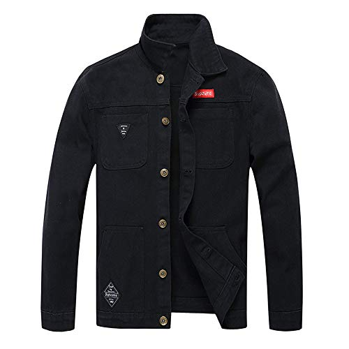 Langarm Popeline-uniform (KPILP Herrenmode Herbst Winter Taste Einfarbig Vintage Jeansjacke Tops Bluse Mantel Outwear Langarm-Shirt(X4-schwarz,XL))