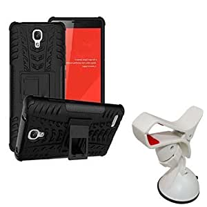 Hard Dual Tough Military Grade Defender Series Bumper back case with Flip Kick Stand for Xiaomi Redmi note + 360 Degree Car Mobile Holder Mount Bracket Holder Stand By Carla Store.