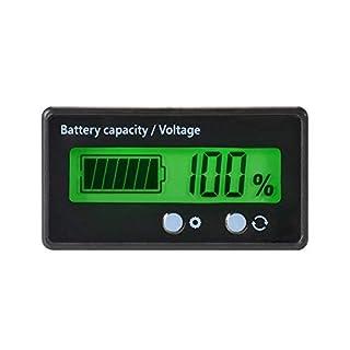 LCD-Batterie-Kapazitäts-Monitor-Messgerät-Meter,12V / 24V / 36V / 48V Blei-Säure-Batterie-Status-Anzeige, Lithium-Batterie-Kapazitäts-Tester grüne Hintergrundbeleuchtung für Fahrzeug-Batterie