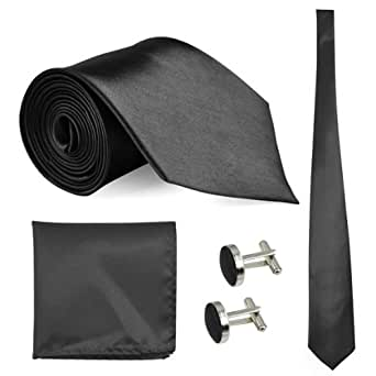 Fashion Mens Woven Silk Tie, Hanky & Cufflinks Set Well-Style-11 Colours Avaliable (Black)