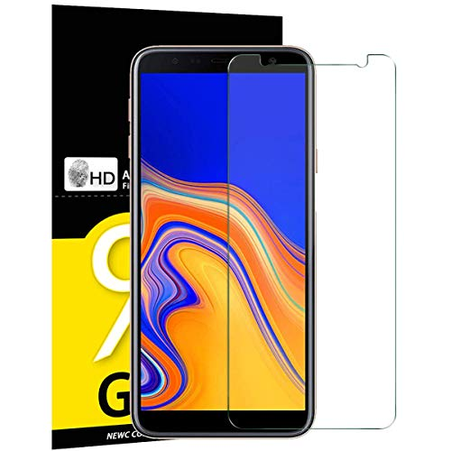 NEW'C Lot de 3, Verre Trempé pour Samsung Galaxy J4 Plus / J4+ (SM-J415F), Film Protection écran - Anti Rayures - sans Bulles d'air -Ultra Résistant (0,33mm HD Ultra Transparent) Dureté 9H Glass