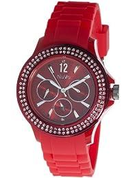 Nuvo - NU133 - Montre Femme - Quartz - Analogique - Bracelet Silicone Rouge - Swarovski elements et diamant