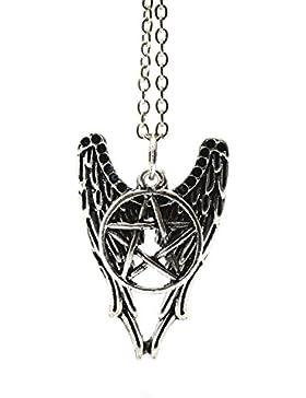 Supernatural Castiel Combo Halskette Engelsflügel Anhänger Tribal-Symbol/Pentagramm Silber inspiriert antik mit...