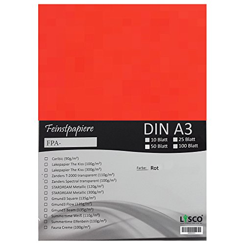 GMUND Transparentpapier DIN A3 Farbe Rot / LYSCO® Feinstpapierset mit 25 Blatt Inhalt (FPA-122) - bedruckbar, sehr gute Qualität, für Einladungen, als Einlegeblätter für Alben, Fotoalben, Fensterbilder, Bastelarbeiten uvm.