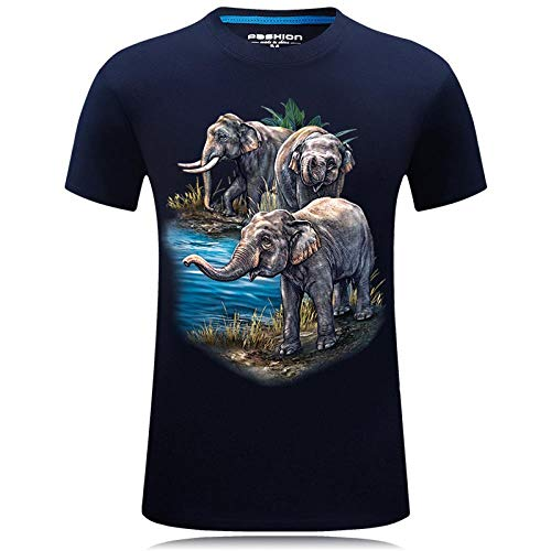 Camiseta Hombres Falda De Elefante Algodón 3D Imprimen Camisetas Unisex Camisetas De Manga Corta Casual Hipster Camisas De Cuello Redondo Deportivas Sport tee para Hombres,Azul,S