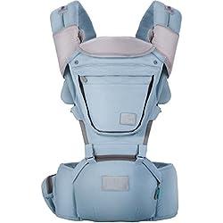 Lekebaby - Mochila para bebé (100% algodón, con asiento de cadera, color azul)