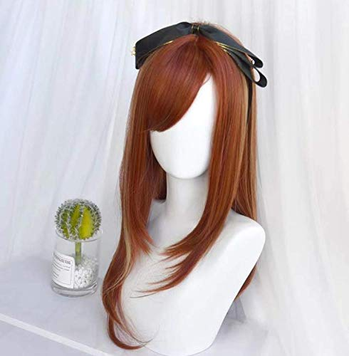 Perücke Cos Girl in geraden geraden schrägen Pony Hochtemperatur-Seide färbbare heiße Perücke Set multicolor - gold, braun