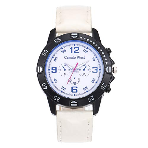 XZDCDJ Damenuhren Erwachsene Analog Quarz Uhr Fashion Armbanduhren Klassiche Uhren Mode Quarzuhr blaues Glas Zifferblatt Casual Ledergürtel Damenuhr Ruffled Glas