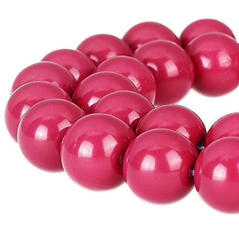 Rubyca rond opaque Painted druk Tchèque Perles de Verre Bulk Bijoux Fournitures Mèche, Verre, rose, 8 mm