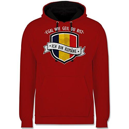Länder - Egal wie geil du bist - ich bin Rumäne - Kontrast Hoodie Rot/Schwarz