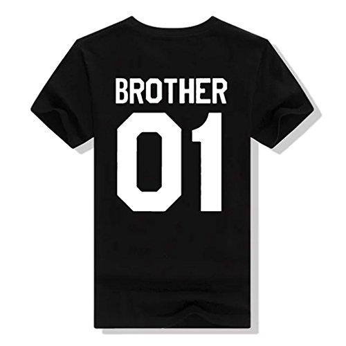 Pärchen Tshirt set Für zwei mit Aufdruck BROTHER SISTER Paar Lustige Passende Kurzarm von ZIWATER (L, Schwarz-Herren)