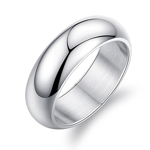 Bishilin Hoch Poliert Edelstahlring Verlobungsringe Trauringe für Herren Silber Größe 54 (Kostüm 8 Für Jährige Elefanten)