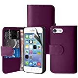 Zonewire® PURPLE WALLET LEATHER FLIP CASE COVER FOR APPLE IPHONE 5 5S & SCREEN PROTECTOR CLEANING CLOTH
